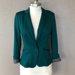 Maurices tailored stretch blazer teal singl button